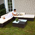 Rattan Garden Furniture Lounge Set Wicker Polyrattan Seat+Table Group Brown Pic:1