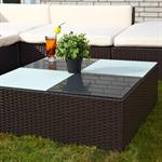 Rattan Garden Furniture Lounge Set Wicker Polyrattan Seat+Table Group Brown Pic:2