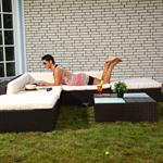 Rattan Garden Furniture Lounge Set Wicker Polyrattan Seat+Table Group Brown Pic:6