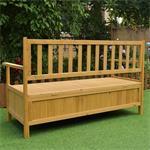 Wooden Outdoor Chest Bench Garden/Patio Furniture Storage Box Seater Pic:4