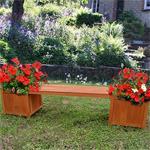 Holzgartenbank mit zwei Blumenkästen