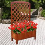 Wooden Flower Planter Pot Box + Stand Trellis Support Tub