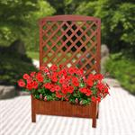 Wooden Flower Planter Pot Box + Stand Trellis Support Tub Pic:1