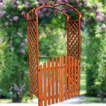 Wooden rose arch with door gate Pergola archway Trellis flower pots