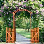 Wooden rose arch with door gate Pergola archway Trellis flower pots Pic:1