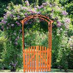 Wooden rose arch with door gate Pergola archway Trellis flower pots Pic:2