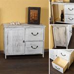 Shabby Commode Cabinet Sideboard Kitchen Cupboard Shelf Wood Vintage Style White