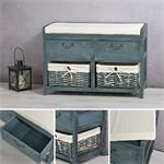 Sitzbank Shabby blau 2 Körbe mit Stoffeinlagen