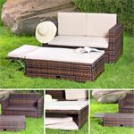 Polyrattan Gartensofa Lounge Sessel braun