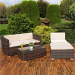 Polyrattan Gartenlounge Gartengarnitur Sofa braun Pic:4