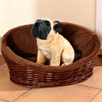 M Puppy Dog/Cat/Pet Animal Basket Bed Sofa Wicker Handmade + Cushion/Pillow Pic:1