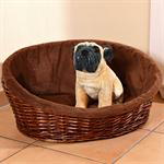 L Puppy Dog/Cat/Pet Animal Basket Bed Sofa Wicker Handmade + Cushion/Pillow Pic:1