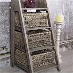 Regal mit 3 Körben Treppe Standregal braun Pic:2