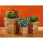 3 Flower Pot Set Planter Container Vase Tub Water Hyacinth Natural-Coloured