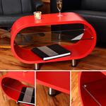 Cocktail Table Coffee Side Tables Glass-topped Table Designer Red Round Lounge