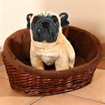 XS Puppy Dog/Cat/Pet Animal Basket Bed Sofa Wicker Handmade + Cushion/Pillow Pic:1