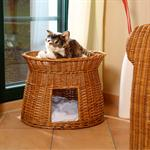 Wicker Cat/Dog Animal Bed Pet Transport Basket light brown