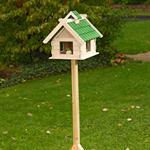 Large Aviary Volery Bird House Nesting Box Wood Bird-seed Dispenser Green
