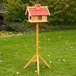 44cm Aviary Volery Bird House Nesting Box Wood Bird-seed Dispenser Feeder Red