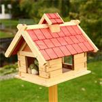 44cm Aviary Volery Bird House Nesting Box Wood Bird-seed Dispenser Feeder Red Pic:2