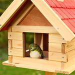 44cm Aviary Volery Bird House Nesting Box Wood Bird-seed Dispenser Feeder Red Pic:3