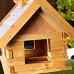 Large Aviary Volery Bird House Nesting Box Wood Bird-seed Dispenser Colourful Pic:1