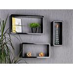XXL Set of 3 Wall Shelf Hanging Rack Bookcase Bookshelf CD Cube Lounge Black