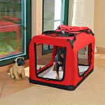 Foldable Dog/Puppy Animal Pet Carrier Transport Box Basket + Cushion Red 91cm