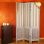 Folding Screen Vintage Style Wood Fabric Covering in Brown/Beige Room Divider