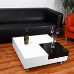 Cocktail Table Coffee Side Tables Glass-topped Table Designer White Square Pic:4