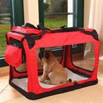Foldable Dog/Puppy Animal Pet Carrier Transport Box Basket Cushion Red Size L Pic:2