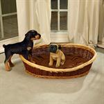 100cm Dog Bed Puppy Basket Pet Sofa Sleeping Willow + Cushions Brown/Natural