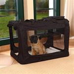 Foldable Dog/Puppy Animal Pet Carrier Transport Box Basket Cushion Black Size L