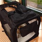Foldable Dog/Puppy Animal Pet Carrier Transport Box Basket Cushion Black Size L Pic:2