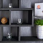 Wall Shelf Hanging Rack Bookcase Bookshelf Lounge Black Pic:2