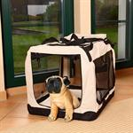 Foldable Dog/Puppy Animal Pet Carrier Transport Box Basket Cushion Beige Size L