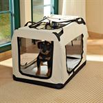 Foldable Dog/Puppy Animal Pet Carrier Transport Box Basket + Cushion Beige 82cm