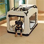 Foldable Dog/Puppy Animal Pet Carrier Transport Box Basket + Cushion Beige 82cm Pic:1
