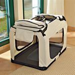 Foldable Dog/Puppy Animal Pet Carrier Transport Box Basket + Cushion Beige 82cm Pic:4