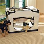 Foldable Dog/Puppy Animal Pet Carrier Transport Box Basket + Cushion Beige 82cm Pic:6