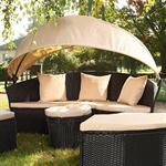 Garden Bed with Table Rattan Wicker Beach Chair Polyrattan Basket Sun Lounger Pic:6