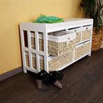 Country House Bench with Baskets Sette Cushion Willow Wood Settle Commode White Pic:1