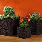 3x Handmade Large Flower Plant Pot Planter Set Floor Vase Square Wicker