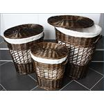 Set of 3 Handmade Wicker Laundry Basket Linen Washing Clothes Storage Hamper
