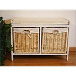 Wooden Bench Seater Seat Chest Settee + Storage Baskets Drawers Bins + Cushion