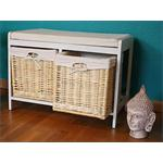 Wooden Bench Seater Seat Chest Settee + Storage Baskets Drawers Bins + Cushion Pic:1