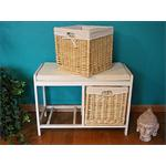 Wooden Bench Seater Seat Chest Settee + Storage Baskets Drawers Bins + Cushion Pic:2
