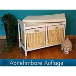 Wooden Bench Seater Seat Chest Settee + Storage Baskets Drawers Bins + Cushion Pic:3