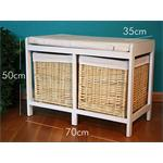 Wooden Bench Seater Seat Chest Settee + Storage Baskets Drawers Bins + Cushion Pic:5