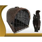Brown Wicker Cat Basket Bed Pet Animal Transport Carrier Box